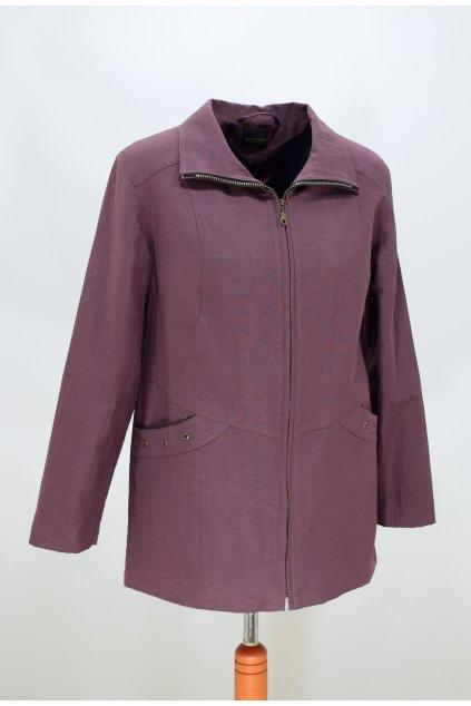 Dámská jarní bunda Aranka baklažán nadměrné velikosti.