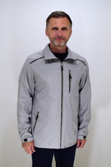 Pánská jarní světle šedá bunda Lukáš nadměrné velikosti