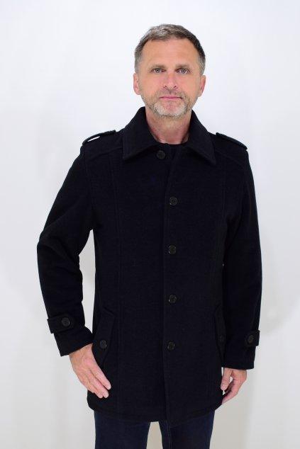 Pánský černý zimní flaušový kabát Šimon nadměrné velikosti.
