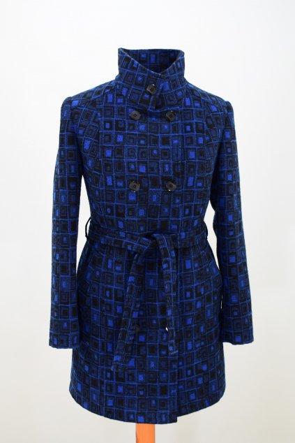 Dámský zimní modrý kostkovaný kabát Sofie.
