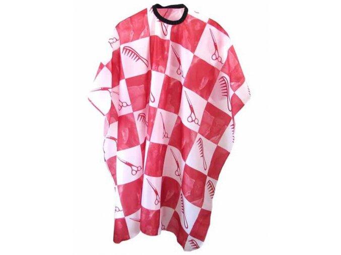 DUKO Pláště Kadeřnický střihací plášť červeno-bílý