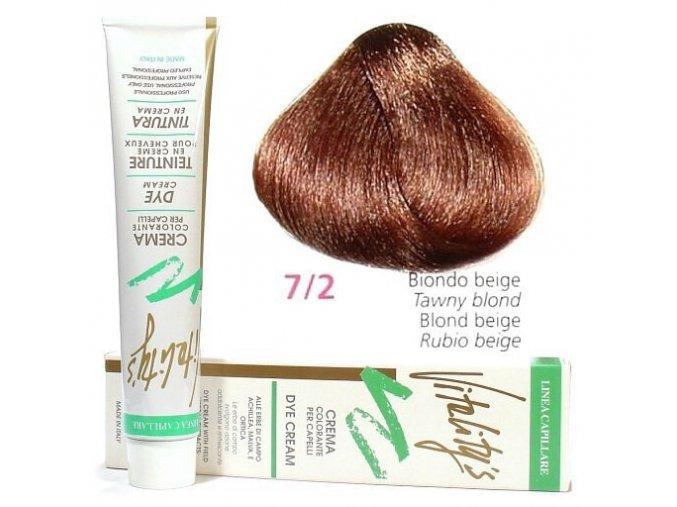 VITALITYS Green Permanentní krémová barva na vlasy - Béžový blond 7-2