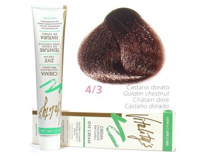 VITALITYS Green Permanentní krémová barva na vlasy - Hnědá zlatá 4-3
