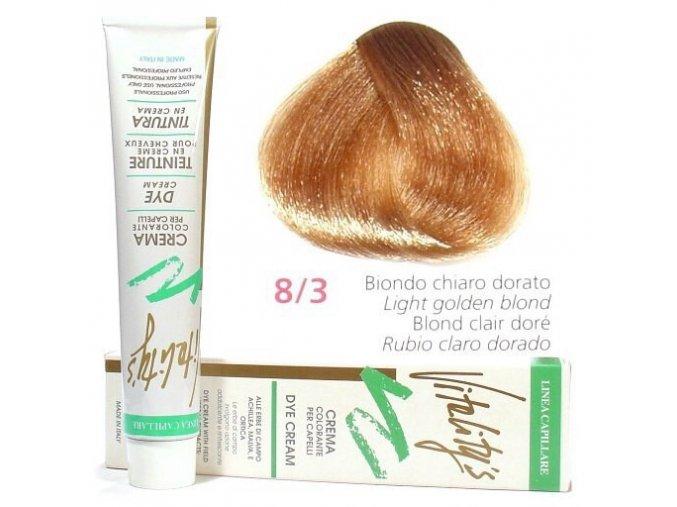 VITALITYS Green Permanentní krémová barva na vlasy - Světle zlatá blond 8-3
