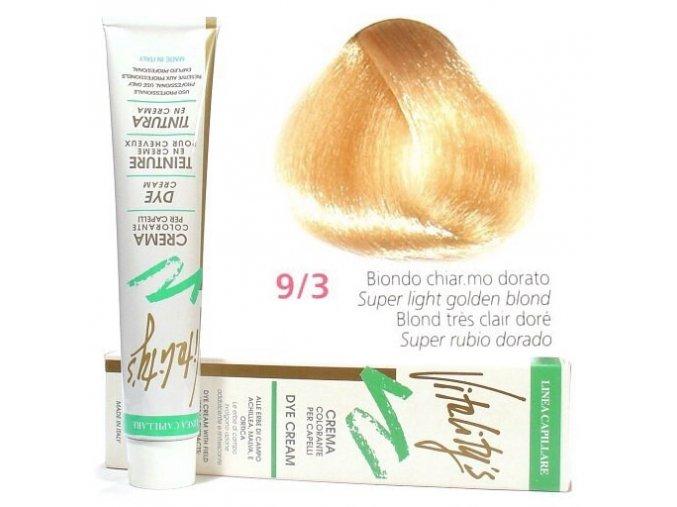 VITALITYS Green Permanentní barva na vlasy - Nejsvětlejší zlatá blond 9-3