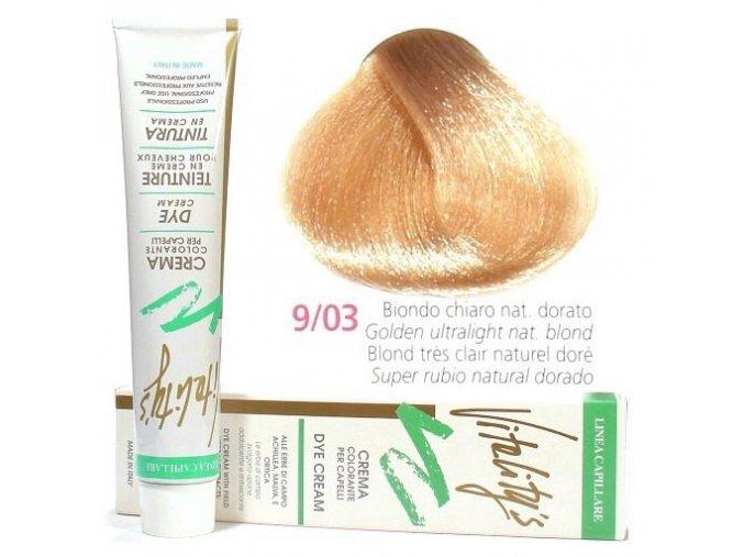 VITALITYS Green Permanentní barva na vlasy - Ultra světlá zlatá blond 9-03