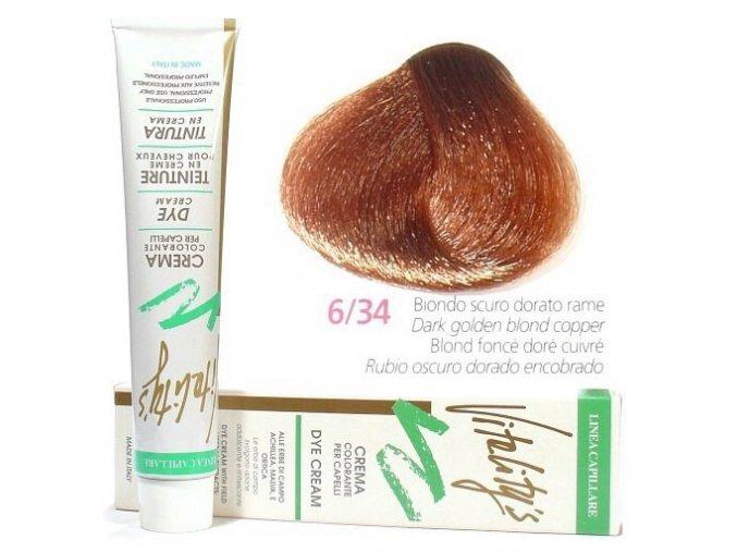 VITALITYS Green Permanentní krémová barva - Tmavý blond zlato měděný 6-34