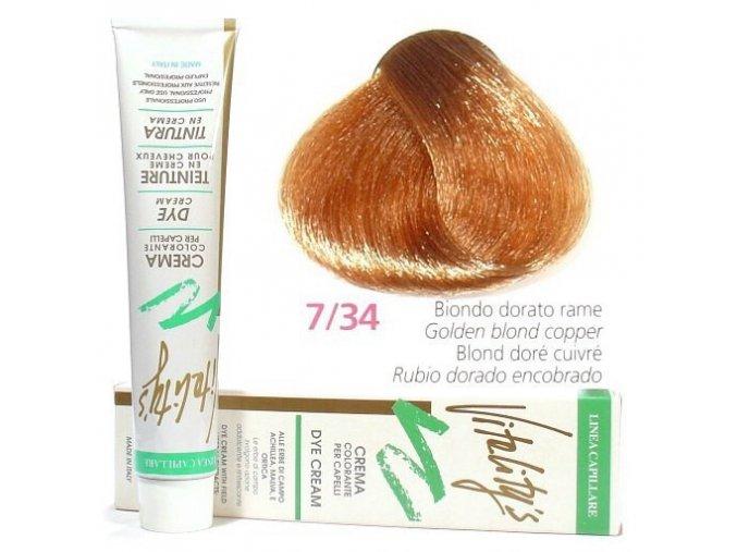 VITALITYS Green Permanentní krémová barva na vlasy - Zlatá blond měděná 7-34