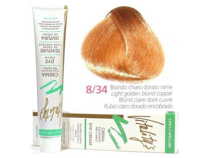 VITALITYS Green Permanentní krémová barva - Světlá zlatá blond měděná 8-34