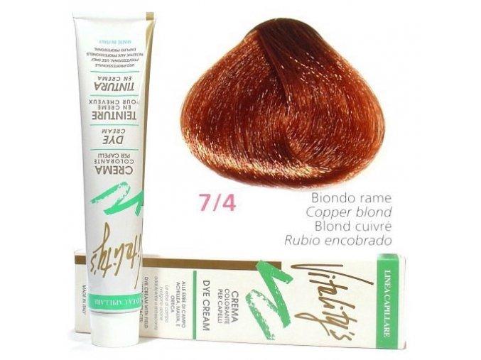 VITALITYS Green Permanentní krémová barva na vlasy - Měděná blond 7-4