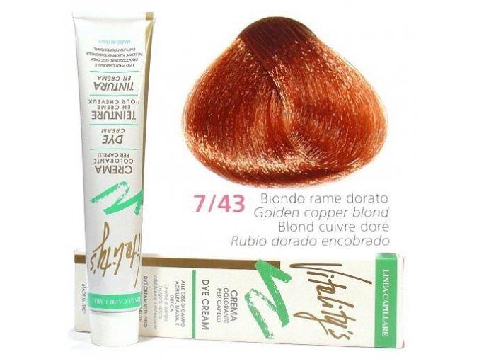VITALITYS Green Permanentní barva na vlasy - Měděná zlatá blond 7-43