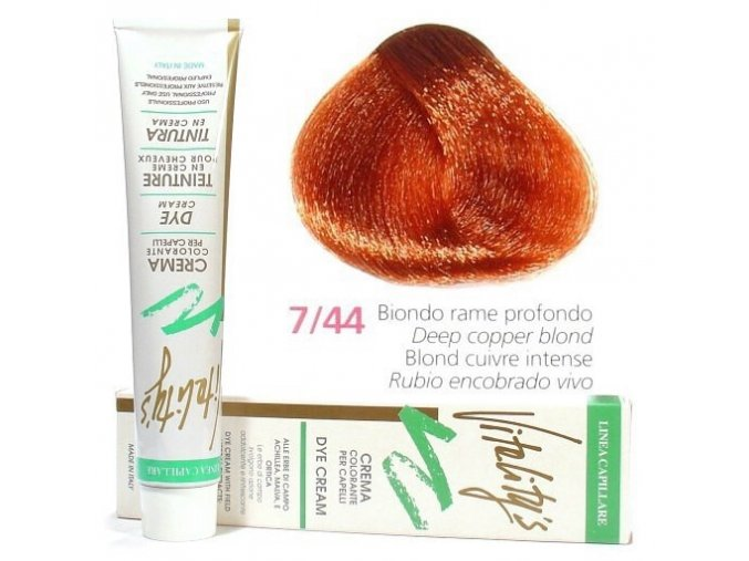 VITALITYS Green Permanentní barva na vlasy - Měděná intenzivní blond 7-44