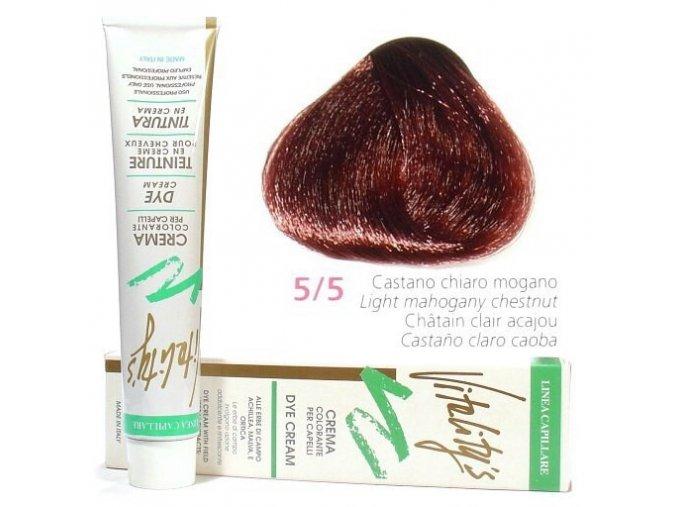 VITALITYS Green Permanentní krémová barva - Světle hnědá mahagonová 5-5