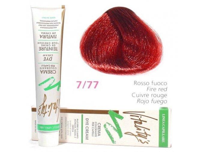 VITALITYS Green Permanentní krémová barva na vlasy - Červený oheň 7-77