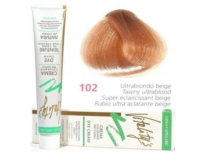 VITALITYS Green Permanentní krémová barva na vlasy - Ultra blond béžová 102