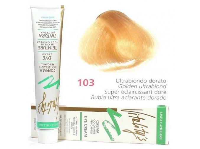VITALITYS Green Permanentní krémová barva na vlasy - Ultra blond zlatá 103