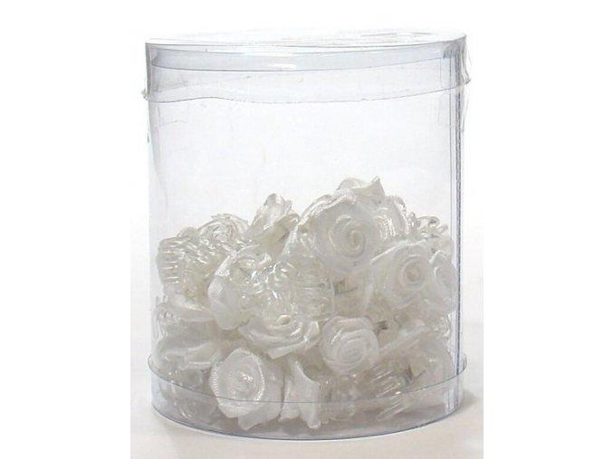 Vlasové doplňky Skřipečky s růžičkou 50ks - bílé