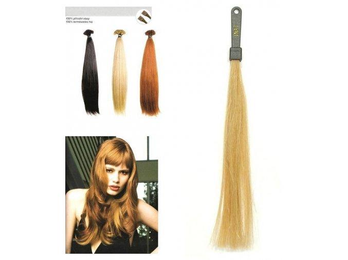 SO.CAP. Rovné vlasy Přírodní odstín 8001LC na prodlužování vlasů 35-40cm - zlatá DB4