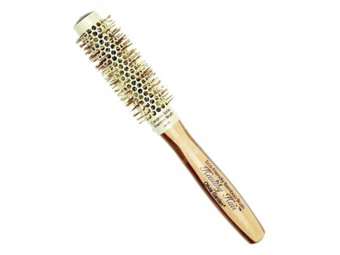 OLIVIA GARDEN Pro Cer Ionic HH-23 Keramický kulatý kartáč na vlasy s bambusovou rukojetí