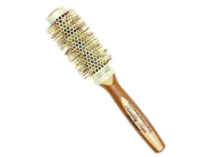 OLIVIA GARDEN Pro Cer Ionic HH-33 Keramický kulatý kartáč na vlasy s bambusovou rukojetí