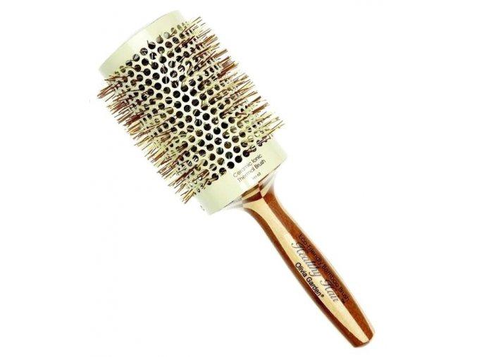 OLIVIA GARDEN Pro Cer Ionic HH-63 Keramický kulatý kartáč na vlasy s bambusovou rukojetí