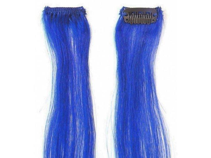 SIMPLY PERFECT Trendy 4ks - Vlasy na prodloužení Human Hair 47cm na sponě - Blue