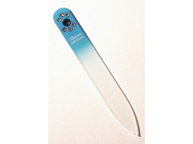 BOHEMIA CRYSTAL Skleněný pilník na nehty Swarovski - 90mm - sv.modrý