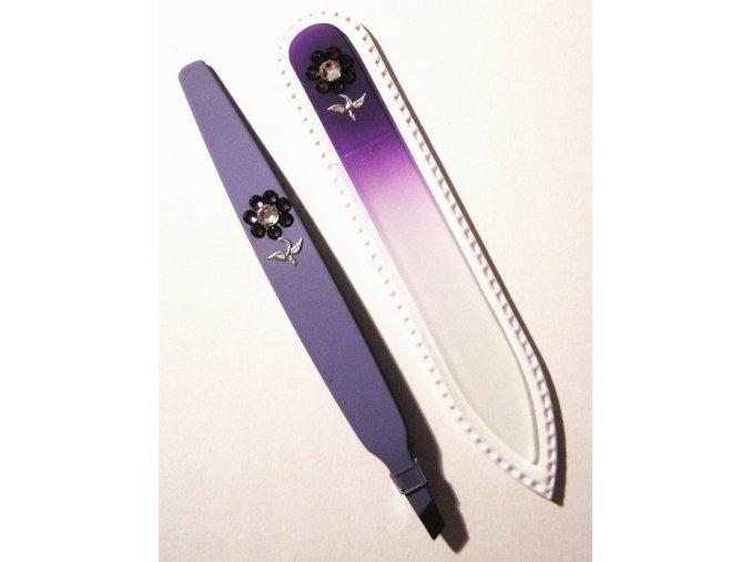 BOHEMIA CRYSTAL SET Swarovski - skleněný pilník 90mm + šikmá pinzeta 97mm - fialová