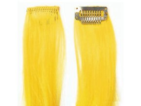 SO.CAP. Original 40cm synt. vlasové prameny na 3cm sponě - Yellow žlutá