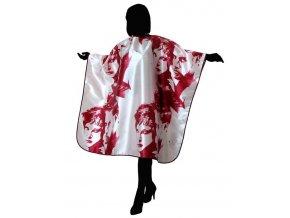 DUKO Pomůcky Luxusní kadeřnický střihací plášť saténový - červenobílý