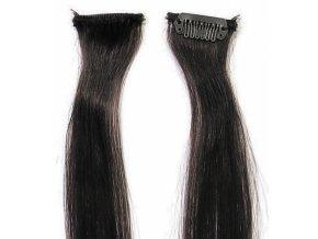 SIMPLY PERFECT Trendy 4ks - Prameny vlasů Human Hair 30cm na sponě - 1B černá