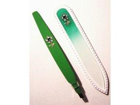 BOHEMIA CRYSTAL SET Swarovski - skleněný pilník 90mm + šikmá pinzeta 97mm - zelená