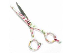 PRO FEEL JAPAN Green White FLowers profesionální kadeřnické nůžky na vlasy 5,5'