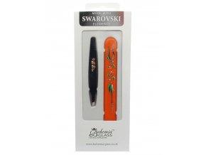 BOHEMIA CRYSTAL Dárkový SET - skleněný pilník s krytkou Orange + pinzeta 97mm Black