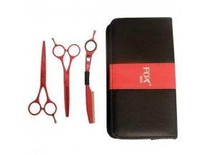 FOX COLOR KIT Set Red - kadeřnické nůžky 5,5 + efilační nůžky 5,5 + břitva