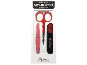 BOHEMIA CRYSTAL Manikura Swarovski - skleněný pilník 90mm + pinzeta + nůžky - červená