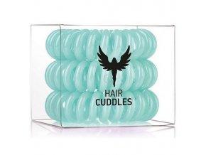HH SIMONSEN Hair Cuddles Turqoise 3ks - spirálové gumičky do vlasů - světle zelené