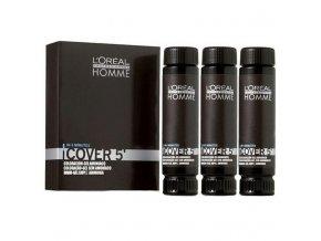 LOREAL Homme COVER 5 barva pro muže na zakrytí šedin 3x50ml - 4 střední hnědá