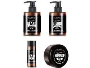 H-ZONE Essential Beard Set - sada péče o vousy (šampon, balzám, vosk a olej)
