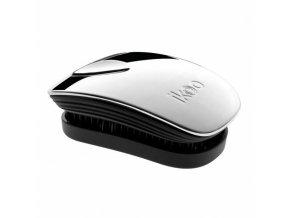 IKOO Pocket Metallic Black Oyster - kapesní rozčesávací kartáč - černo stříbrný