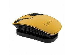 IKOO Pocket Metallic Black Soleil - kapesní rozčesávací kartáč - černo zlatý
