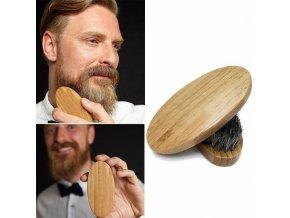 Beard Brush 1000-882 Dřevěný kartáček na vousy, přírodní žíně z divočáka - rozměr 8 x 4 x 3cm