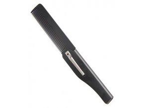 Beard Comb 001BC Black - skládací hřeben pro úpravu vousů a kníru - černý