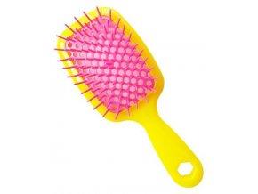 JORGEN 69986 Rozčesávací kartáč na vlhké a suché vlasy - žluto růžový