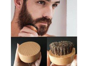 Beard Brush SL1400 Kulatý dřevěný kartáč na vousy, kančí štětiny - průměr 55mm
