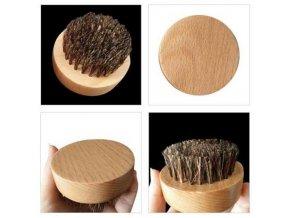 Beard Brush SL1500 Kulatý dřevěný kartáč na vousy, kančí štětiny - průměr 65mm
