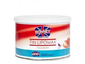 RONNEY Tin Lipowax Strawberry 400ml - depilační vosk - jahoda