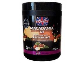 RONNEY Macadamia Oil Mask 1000ml - regenerační maska pro slabé a suché vlasy