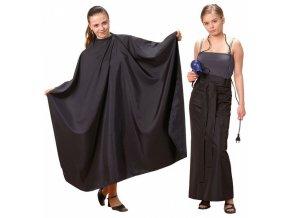 FOX Collection Silky Line SET - černý kadeřnický střihací plášť + dlouhá zástěra