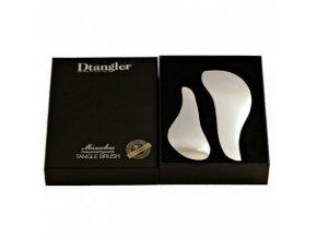 DTANGLER SILVER SET Profesionální rozčesávací kartáče na vlasy s rukojetí - stříbrné 2ks
